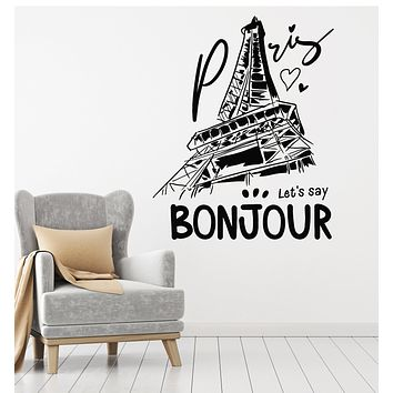 Vinyl Wall Decal Paris France Love Eiffel Tower Bonjour French Stickers Mural (g3005)