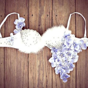 White crystal flower rave festival bra
