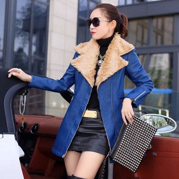 Thick fur coat pocket zippers long sleeve turn down collar leather jacket