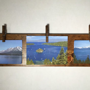 Rustic wood picture frame, children's art display, clothespin photo frame photo display photo hanger art hanger photo holder photo organizer