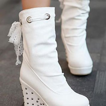New White Round Toe Wedges Sequin Fashion Mid-Calf Boots