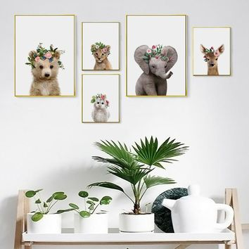 Nurser Canvas Art Posters and Prints Giraffe Elephant Deer Owl Wall Art Painting Picture Nordic Decorative for Baby Room Decor