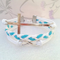 Infinity Bracelet-Cross Bracelet.White Wax Cords and Blue Braid bracelet.