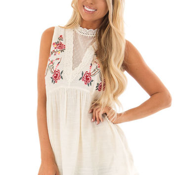 Cream Tank Top with Floral Embroidery and Sheer Lace Detail