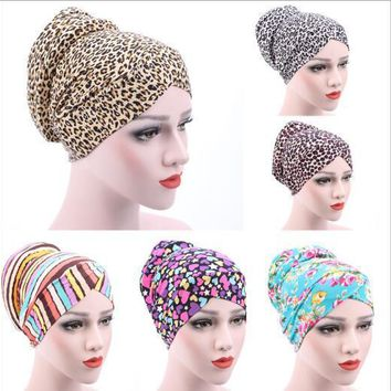 on sale 1pcs Women Headwrap Head Wrap chemo New Small Floral Muslim Turban leopard cotton cap hair caps chemotherapy Bandanas