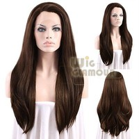 "Long Straight 24"" Dark Golden Brown Mixed Reddish Brown Lace Front Wig"