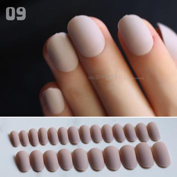 matte oval lovely false nails Nude 24pcs full sets Red fake nails Dark blue Medium length round black Simple solid color