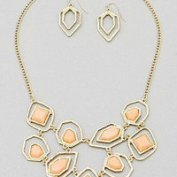 Geometric Shaped Necklace Set in Peach and Gold