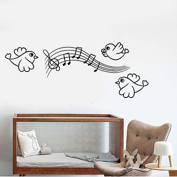 Vinyl Wall Decal Bird Music Notes Decorations For Children's Rooms Stickers Unique Gift (1284ig)