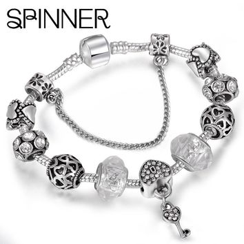 SPINNER Heart Love Charm Bracelet for Women With White Glass Beads fit Snake Chain Pan
