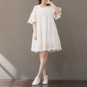 RETRO LOOSE LARGE SIZE WHITE STRAPLESS SLEEVES EMBROIDERED SHORT-SLEEVED COTTON AND LINEN DRESS TIDE