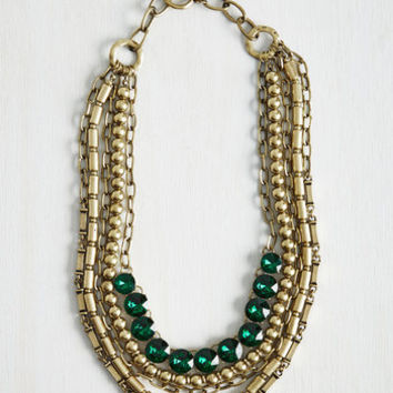 Yes You Glam Necklace in Green Crystal by ModCloth