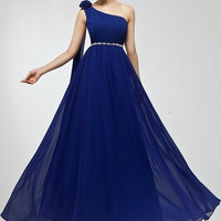 2015 Fashion Bride Wedding Party Dress Floor Length One Shoulder Chiffon Flower Long Evening Dress Sweet Bridesmaid dresses Plus Size Lace-up Prom Dresses Cocktail Dress