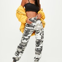 Missguided - Grey Camo Printed Cargo Pants