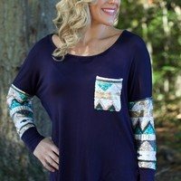 Shine On Top: Navy - Lavish Boutique