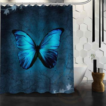 custom Butterfly Shower curtain New farbic Waterproof bathroom curtains More Size