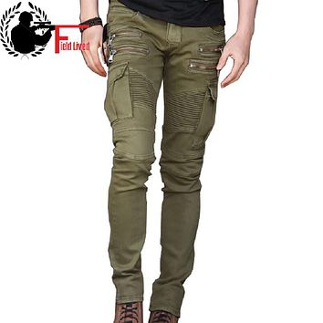 Men's Jeans Casual Biker Jeans with Zipper Fashion Fold Designer Skinny Hiphop Punk Multi Pockets Slim Denim Pants for Men 28-36