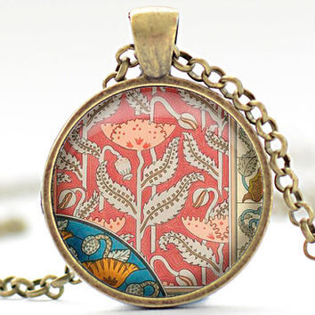 Art Deco Motif Necklace, French Floral Jewelry, Art Deco Motif Pendant, Floral Pendant (981)