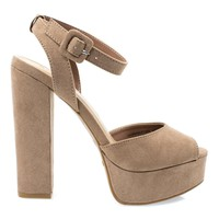 Tournament04M Camel By Bamboo, Women's Chunky Block Heel Platform Sandal w Peep Toe