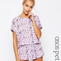 ASOS PETITE Space Unicorn All Over Print Tee & Short Pyjama Set at asos.com