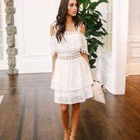 Lovebird Eyelet Tiered Dress - Off White