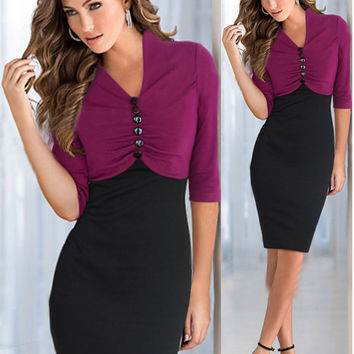 Purple Button Ruched Bodycon Midi Dress