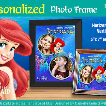 "Personalized Little Mermaid Ariel Photo Frame 5"" x 7"" Horizontal Vertical PNG JPG Disney Digital File Printable"