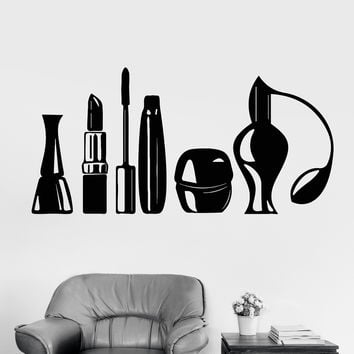 Vinyl Wall Decal Cosmetics Beauty Salon Makeup Artist Fashion Girl Stickers Unique Gift (1081ig)