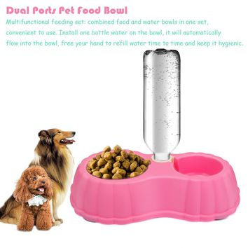 2 Ports Pet Dog Puppy Water Drinking Bottles Dispenser Food Dish Bowl Feeder For Dogs Automatic Travel Feeding Bowl
