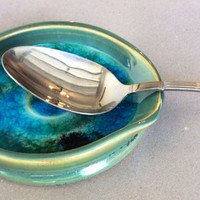 Turquoise Ceramic Spoon Rest with Melted Glass