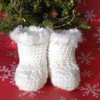 Crocheted Winter Booties Fur-Trimmed Newborn 0 3 mo