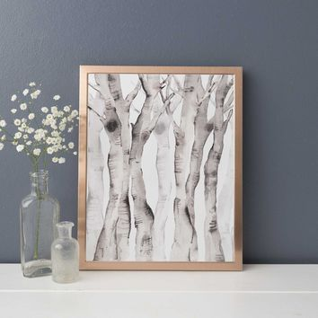 Modern Forest Birch Tree Watercolor Wall Art Print