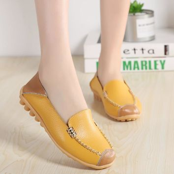 UNN 2018 Spring Women Genuine Leather Shoes Slip on Ballet Ladies Casual Flats  Shoes 8 Colors Moccasins Loafers Shoes Size5-9.5