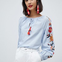 Esprit Embroidered Sleeve Peasant Top at asos.com