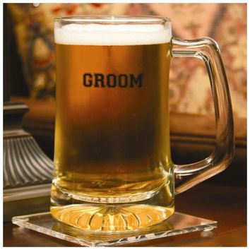 Glass Groom Mug - Etching Personalized Perfect Wedding Gift