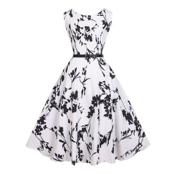 Women Dress Print Floral 50s 60s Vintage Sleeveless 2017 New Style Summer Retro Dress Party Vestidos De Verano Ball Gown Vestido