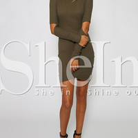 Army Green Long Sleeve Cut Out Bodycon Dress -SheIn(Sheinside)