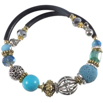 Glass Stone and Charms Memory Wire Wrap Bangle (Turquoise)