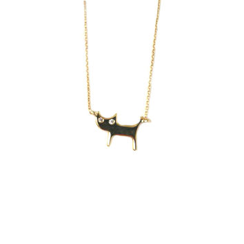 Sterling Silver Cat Necklace - Silver, Gold