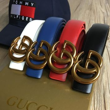 GUCCI Women's Genuine Fashion Buckle Belt Leather Belt