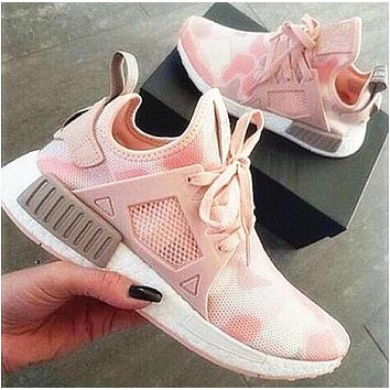 """""""Adidas"""" Fashion Trending NMD Women Pink Camouflage Running Sports Shoes G"""