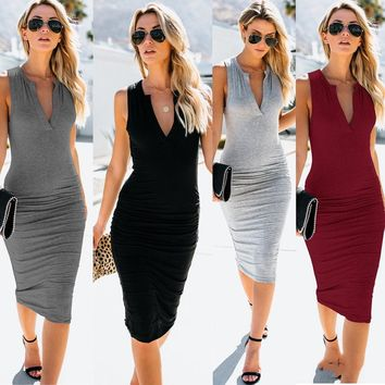 Trendy New Summer Women Solid Color Sexy V-neck Sleeveless Casual Bodycon Office Ladies Pencil Midi Dress