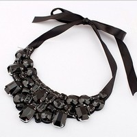 Women's Fashion Artificial Crystal Rhinestone Collar Necklace with Ribbon Tie (Black)