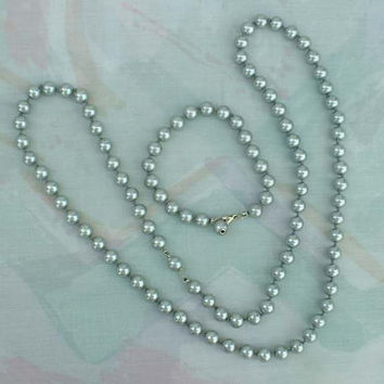 Grayish Blue Metalic Bead Necklace Bracelet Set Hand Knotted Metal Jewelry