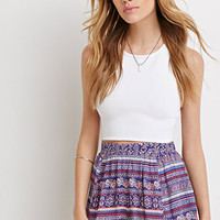 Paisley-Striped Crinkled Crepe Shorts
