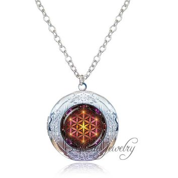 Women Men Mandala Flower of Life Locket Necklace Glass Dome Yoga Buddhism Spiritual Jewelry Metaphysical Sacred Geometry Gift