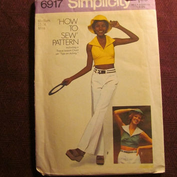 Sale Uncut 1970's Simplicity Sewing Pattern, 6917! 12-14 Small/Medium/women's/Misses/Collared Halter Tops/Tummy Shirts/Tie Back Tops/Sun hat