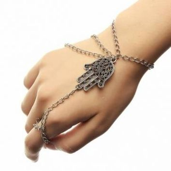 Hand Bracelet Slave Chain Fatima Hamsa Hand Silver Metal Beach Wedding Bride Hand Jewelry New Item