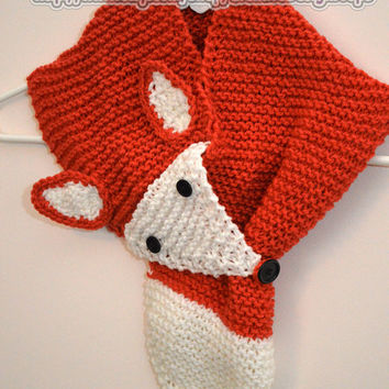 What Does The Fox Say Knit Animal Scarf - great christmas gift, unisex neckwarmer, scarf, woodland animal lovers scarf