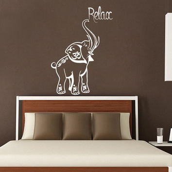 Indian Elephant Wall Decal Relax Vinyl Stickers Safari Decals Om Sign Art Mural Home Bedroom Design Interior Animals Living Room Decor KI2